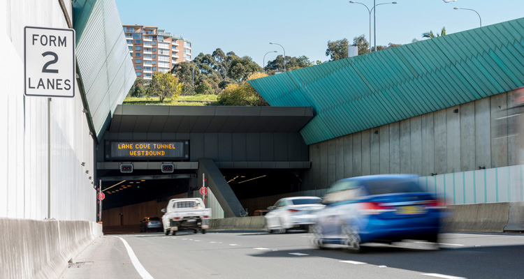 Cars travelling into the Lane Cove Tunnel